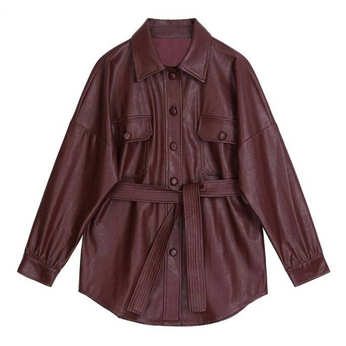 Wine Red PU Leather Jacket with Belt for Women Coats Jackets & Coats Women's Clothing & Accessories