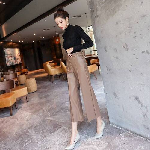 Women's Belted Faux Leather Pants with High Waist Bottoms Pants & Capris Women's Clothing & Accessories