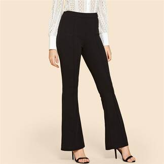 Women's Black Elastic Flare Pants Bottoms Pants & Capris Women's Clothing & Accessories