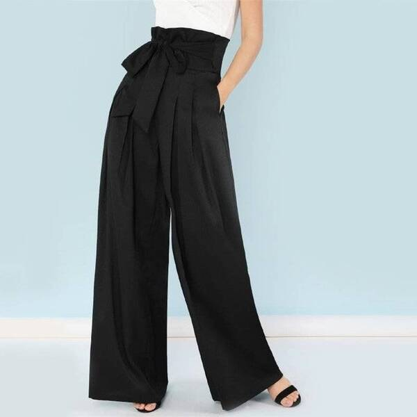 Women's Black Pleated Straight Pants Bottoms Pants & Capris Women's Clothing & Accessories