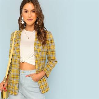 Women's Casual Plaid Blazer Basic Jackets Jackets & Coats Women's Clothing & Accessories