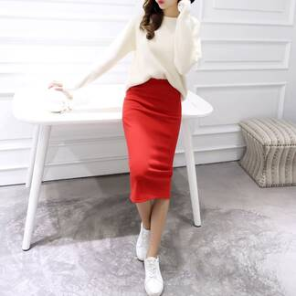 Women's Classic High Waist Pencil Skirt Bottoms Skirts Women's Clothing & Accessories