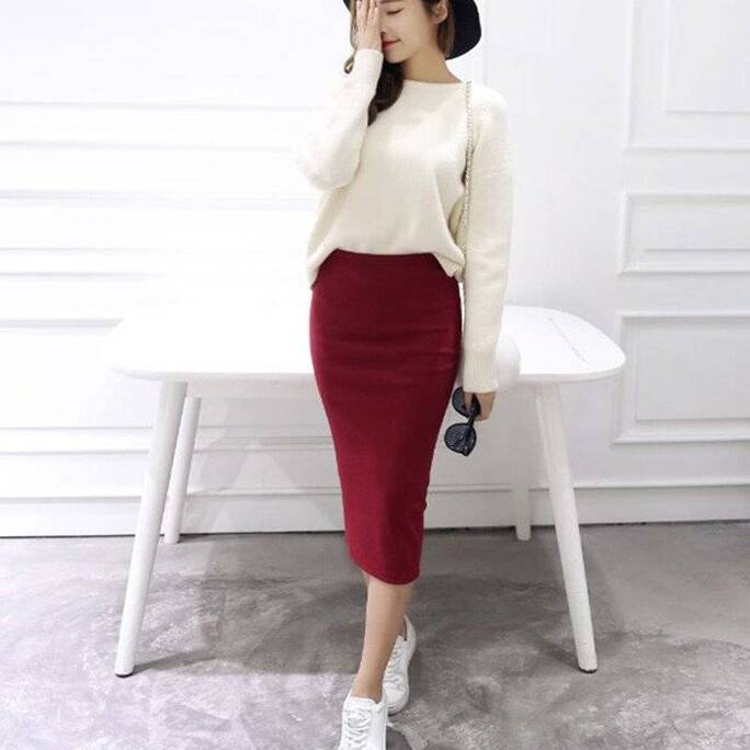 Women's Classic Mid Pencil Skirt Bottoms Skirts Women's Clothing & Accessories