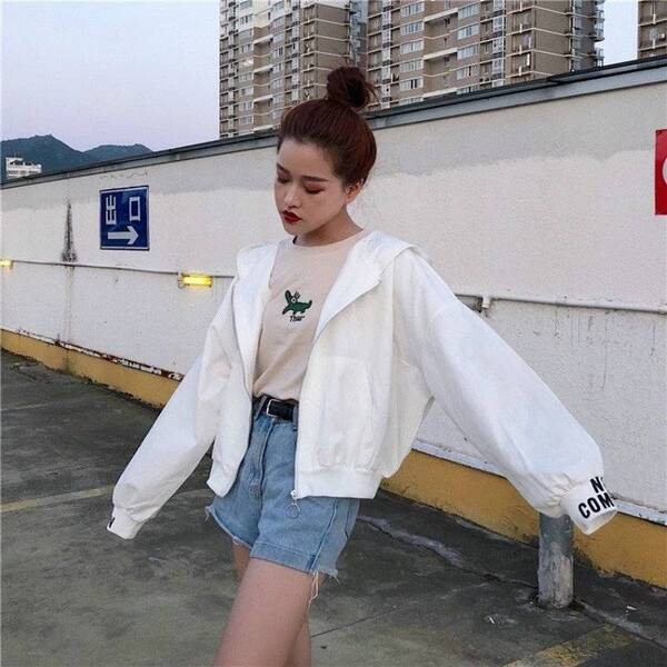 Women's Dead Inside Printed Hooded Jacket Basic Jackets Jackets & Coats Women's Clothing & Accessories