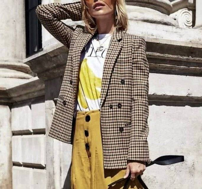 Women's Double Breasted Plaid Blazer Jackets & Coats Trench Women's Clothing & Accessories