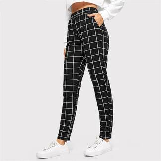 Women's Elegant Square Printed Skinny Pants Bottoms Pants & Capris Women's Clothing & Accessories