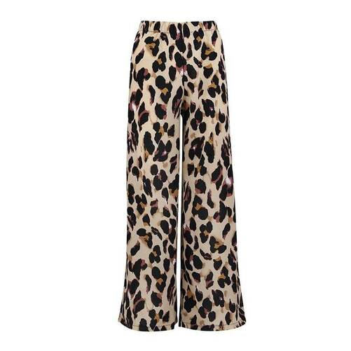 Women's Flared Wide Leg Pants with Leopard Print Bottoms Pants & Capris Women's Clothing & Accessories