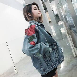 Women's Floral Embroidered Jeans Jacket Basic Jackets Jackets & Coats Women's Clothing & Accessories