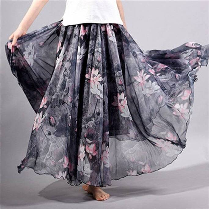 Women's Floral Printed Chiffon Skirt Bottoms Skirts Women's Clothing & Accessories