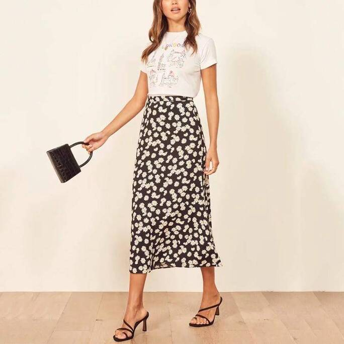 Women's Floral Printed Summer Midi Skirt Bottoms Skirts Women's Clothing & Accessories