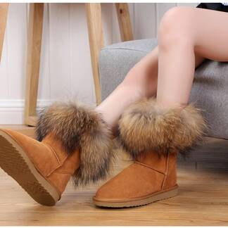 Women's Fox Fur Snow Boots Women Shoes Women's Boots
