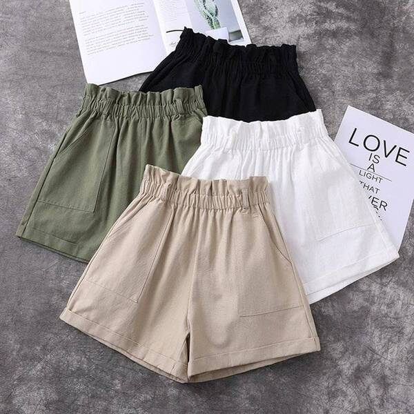 Women's Harajuku Cotton Belted Shorts Bottoms Shorts Women's Clothing & Accessories