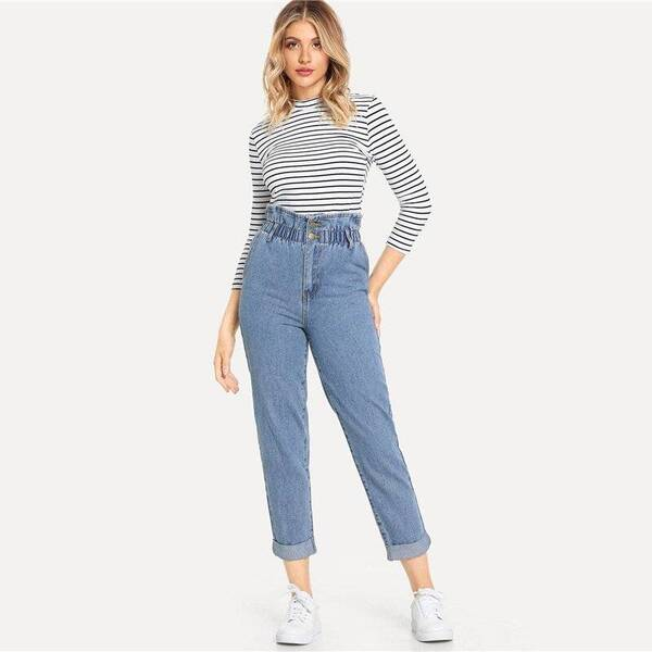 Women's High Waist Rolled Jeans Bottoms Jeans Women's Clothing & Accessories