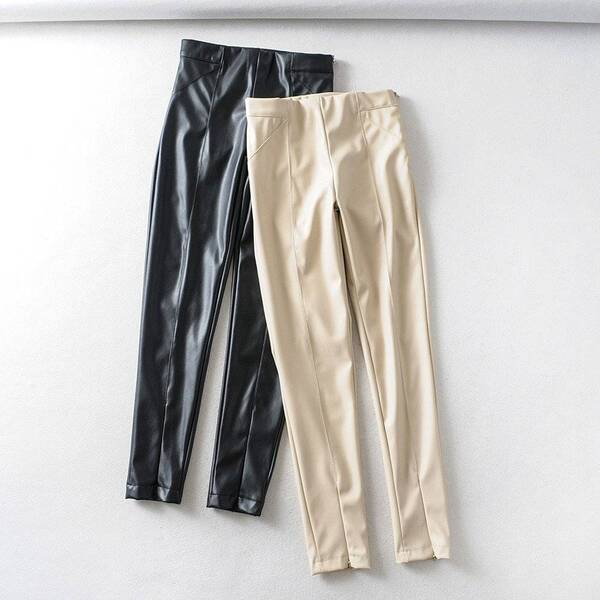 Women's High Waisted Skinny Faux Leather Trousers Bottoms Pants & Capris Women's Clothing & Accessories