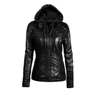 Women's Hooded Slim Leather Jacket Basic Jackets Jackets & Coats Women's Clothing & Accessories