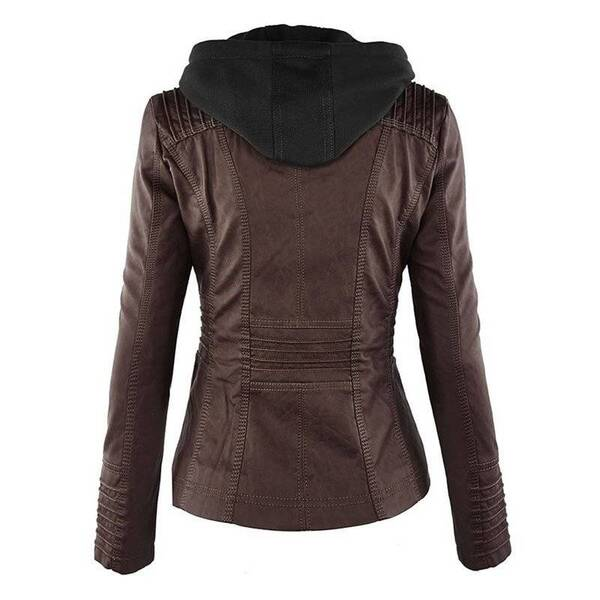 Women's Hooded Slim Leather Jacket Down Jackets Jackets & Coats Women's Clothing & Accessories