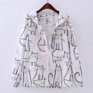 Women's Kawaii Cat Printed Jacket Basic Jackets Jackets & Coats Women's Clothing & Accessories