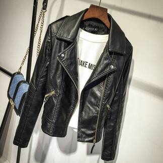 Women's Leather Jacket Basic Jackets Jackets & Coats Women's Clothing & Accessories