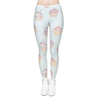 Women's Leggings With Cupcakes Print Bottoms Leggings Women's Clothing & Accessories