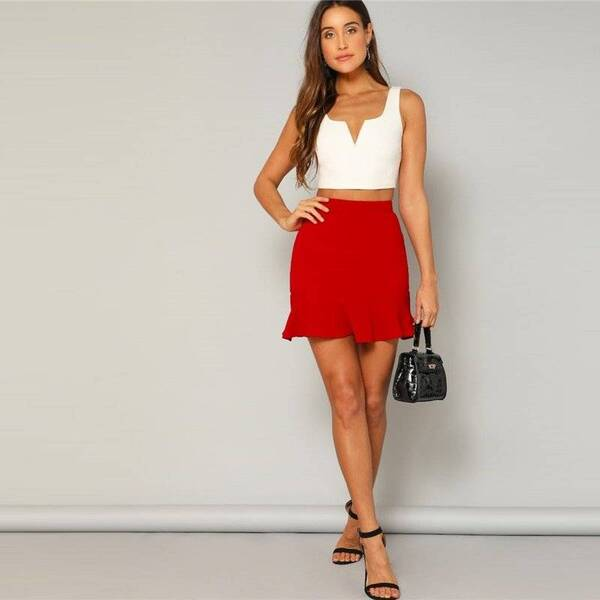 Women's Mini Red Skirt Bottoms Skirts Women's Clothing & Accessories