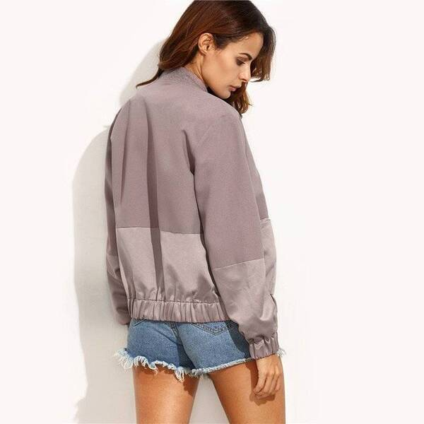 Women's Patchwork Design Casual Jacket Basic Jackets Jackets & Coats Women's Clothing & Accessories