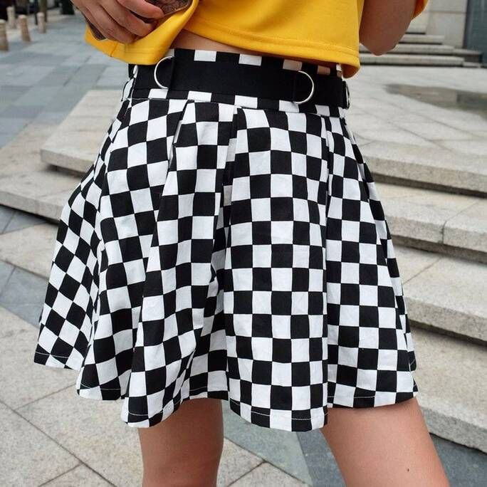 Women's Pleated Checkerboard Mini Skirt Bottoms Skirts Women's Clothing & Accessories