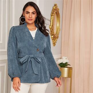 Women's Plus Size Blue Corduroy Belted Coat Coats Jackets & Coats Women's Clothing & Accessories