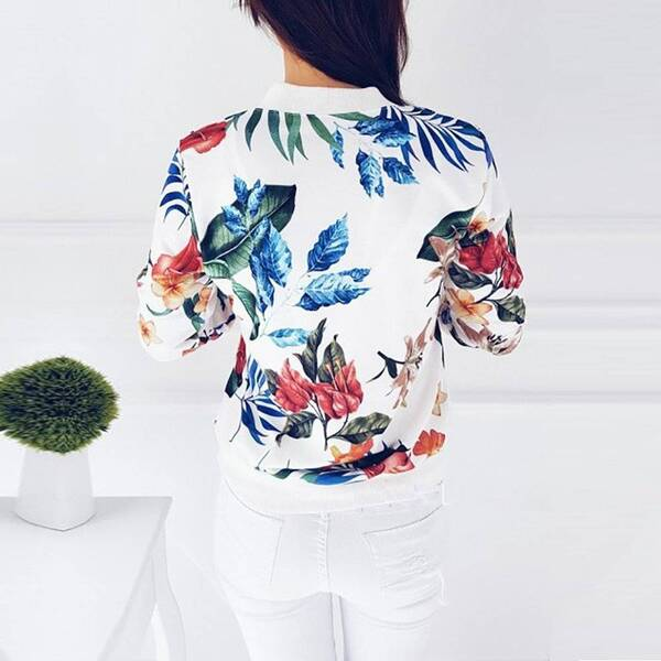 Women's Plus Size Floral Pattern Jackets Basic Jackets Jackets & Coats Women's Clothing & Accessories