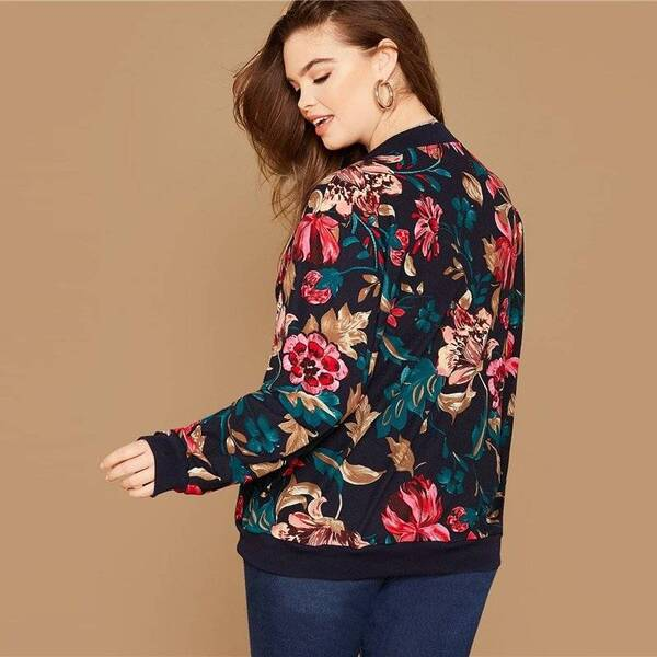 Women's Plus Size Floral Printed Bomber Jacket Basic Jackets Jackets & Coats Women's Clothing & Accessories