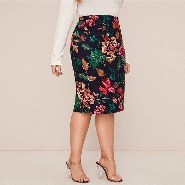 Women's Plus Size Multicolor Floral Printed Pencil Skirt Bottoms Skirts Women's Clothing & Accessories