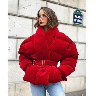 Women's Red Velour Cotton Padded Short Coat with Belt Coats Jackets & Coats Women's Clothing & Accessories