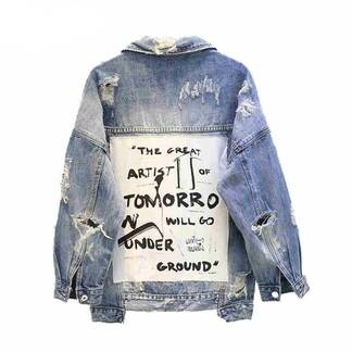 Women's Ripped Casual Denim Jacket Basic Jackets Jackets & Coats Women's Clothing & Accessories