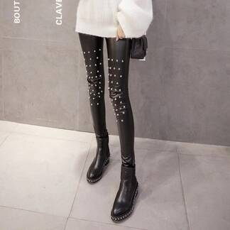 Women's Rivet Decoration Faux Leather Leggings Bottoms Leggings Women's Clothing & Accessories