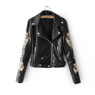 Women's Rock Leather Embroidered Jacket Basic Jackets Jackets & Coats Women's Clothing & Accessories