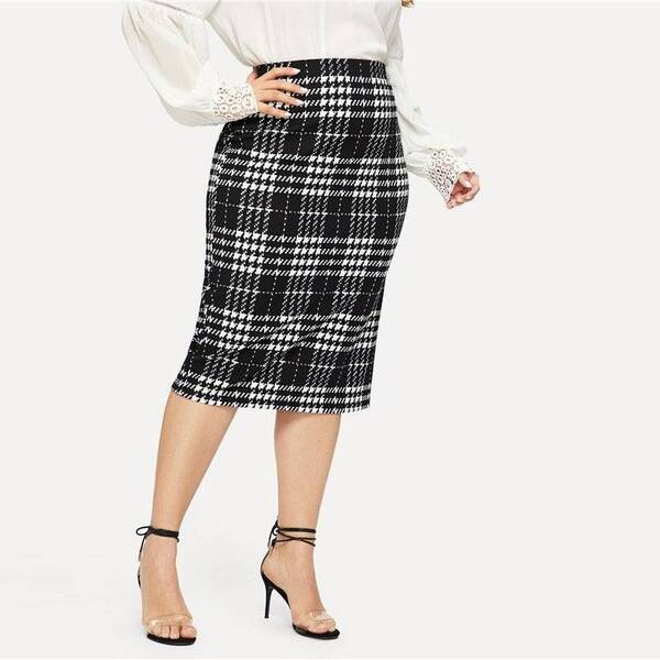 Women's Solid Plaided Pencil Skirt Bottoms Skirts Women's Clothing & Accessories