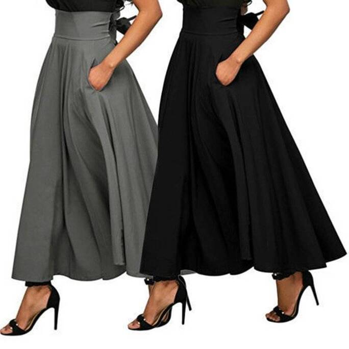 Women's Solid Vintage Midi Pleated Skirt Bottoms Skirts Women's Clothing & Accessories