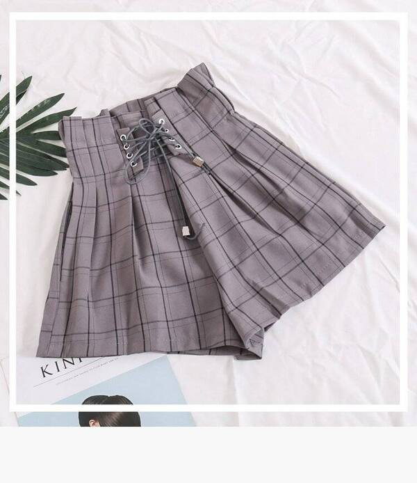 Women's Summer Plaid Drawstring Shorts Bottoms Shorts Women's Clothing & Accessories