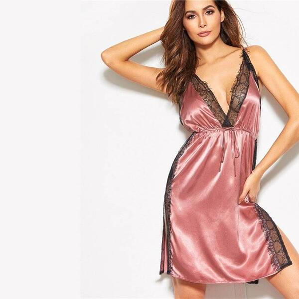 Backless Women's Chemise with Black Lace Nightgowns & Sleepshirts Sleepwear & Loungwear Women's Clothing & Accessories