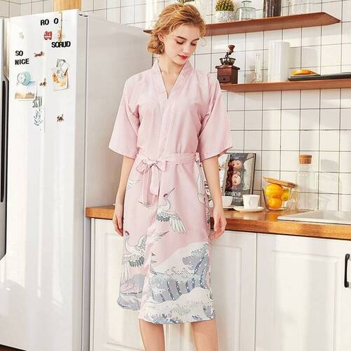Bird Printed Silk Kimono for Women Robes Sleepwear & Loungwear Women's Clothing & Accessories