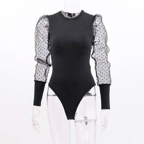 Black Women's Bodysuit with Puff Sleeves Bodysuits Suits & Sets Women's Clothing & Accessories