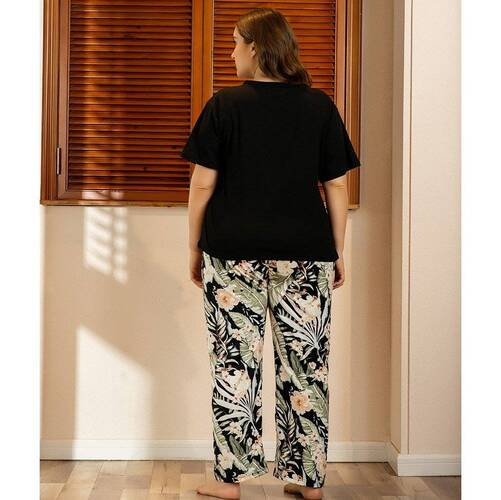 Black Women's Pajama Set in Plus Size Pajama Sets Sleepwear & Loungwear Women's Clothing & Accessories
