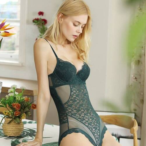 Black and Green Boned Bodysuit for Women Bodysuits Suits & Sets Women's Clothing & Accessories