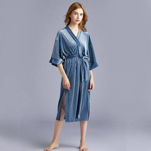 Blue Velvet Women's Bathrobe Robes Sleepwear & Loungwear Women's Clothing & Accessories