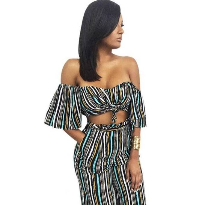 Bohemian Summer Off-Shoulder Striped Women's Clothing Set Pants & Shorts Suits Suits & Sets Women's Clothing & Accessories