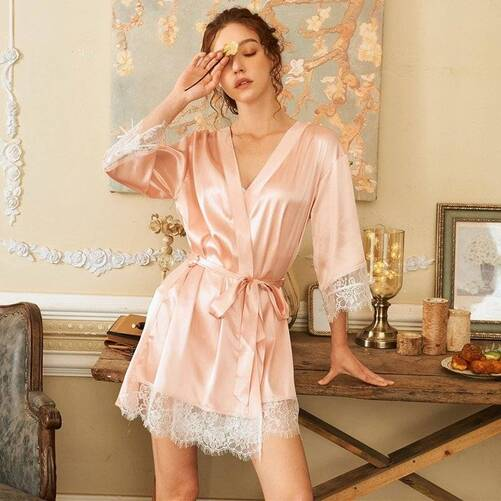 Classic Silk Women's Robe in Pink and White Robes Sleepwear & Loungwear Women's Clothing & Accessories