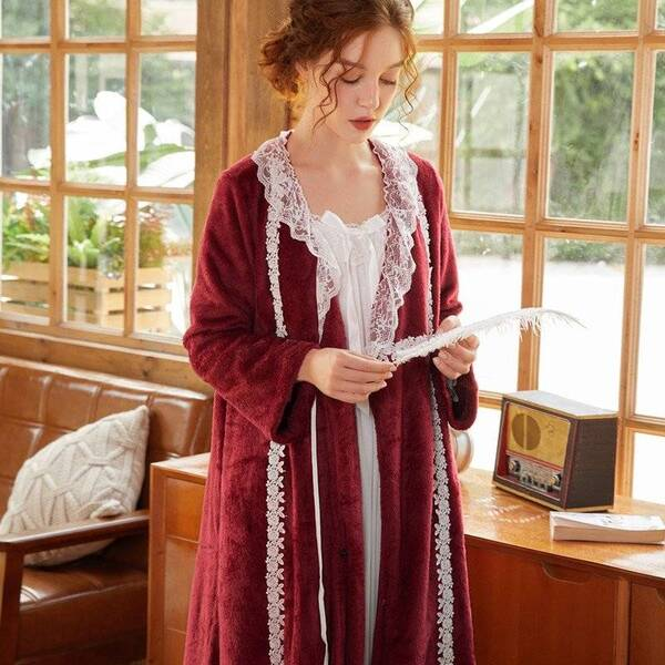 Flannel Women's Robe with Lace Robes Sleepwear & Loungwear Women's Clothing & Accessories