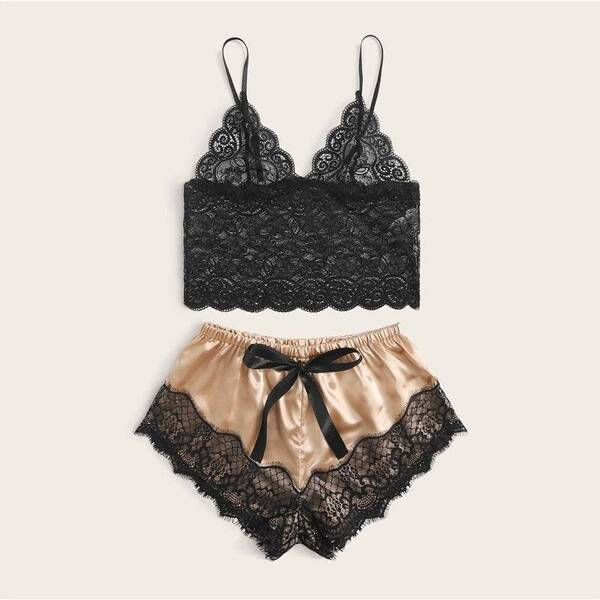 Floral Lace Bralette with Satin Shorts Set for Women Pajama Sets Sleepwear & Loungwear Women's Clothing & Accessories