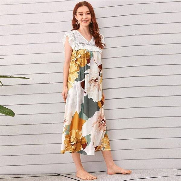 Floral Multicolored Chemise for Women Nightgowns & Sleepshirts Sleepwear & Loungwear Women's Clothing & Accessories