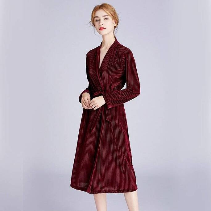 Knitted Women's Robe with Back Embroidery Robes Sleepwear & Loungwear Women's Clothing & Accessories
