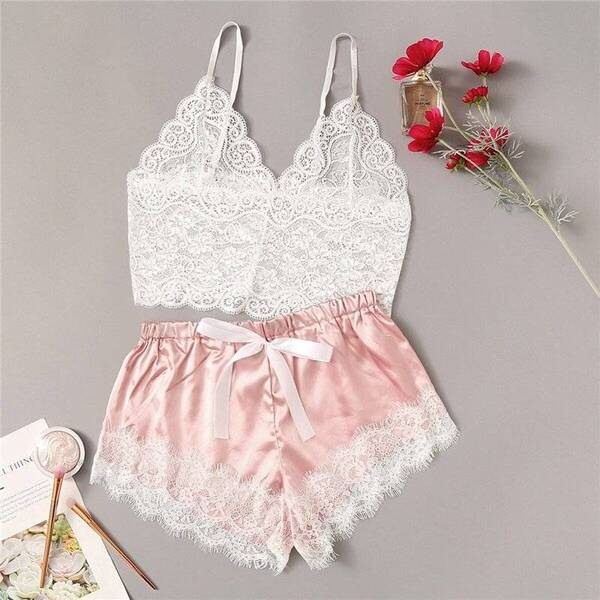 Lace Women's Cami Set in Blue and Pink Pajama Sets Sleepwear & Loungwear Women's Clothing & Accessories